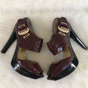 Michael Kors ox blood burgundy wine heels 9